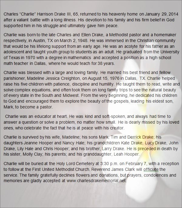 Sample Obituary for Dad Inspirational Obituary Template Word
