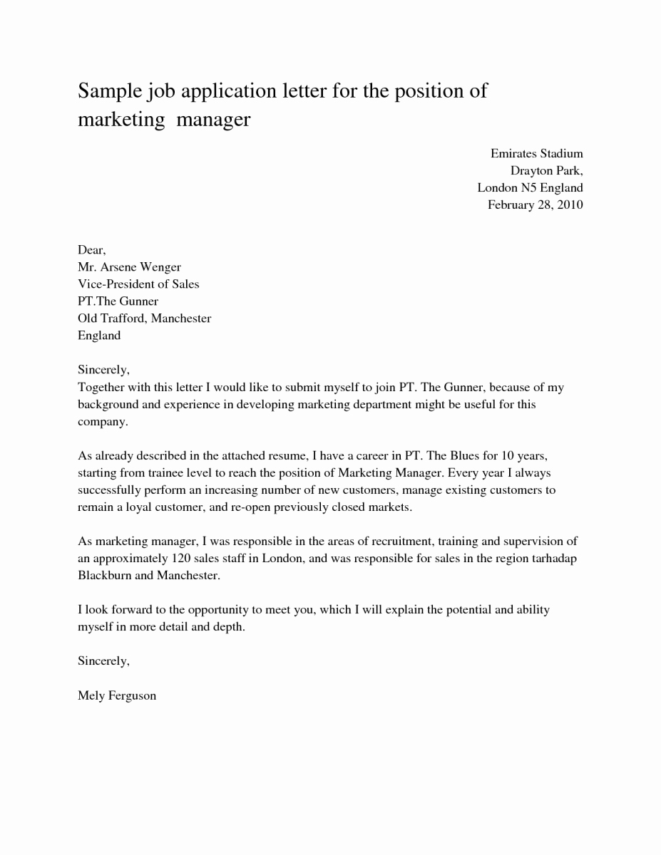 Sample Of A Job Application Best Of Sample Cover Letters for Job Application