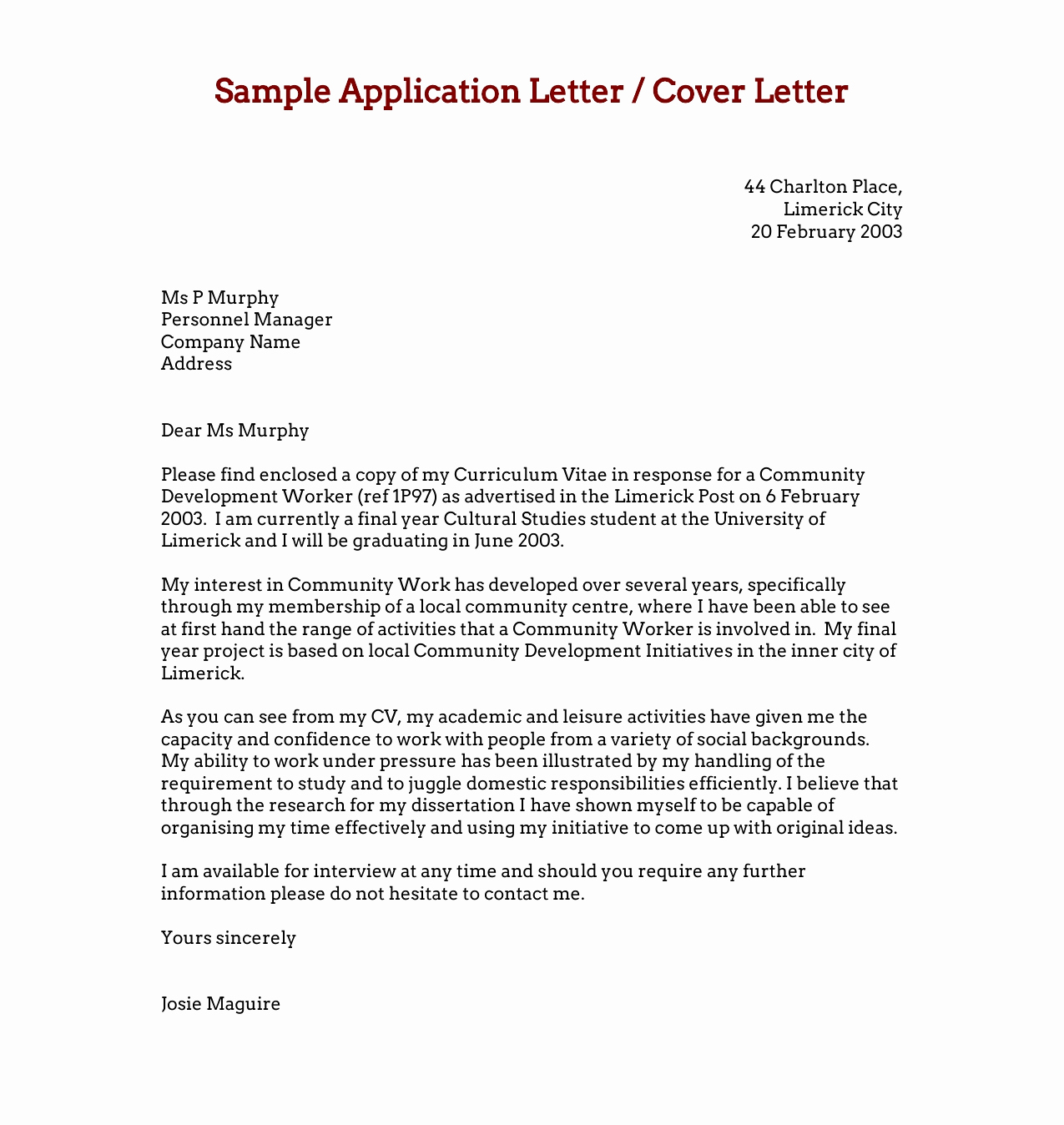 Sample Of A Job Application Elegant Download Free Application Letters