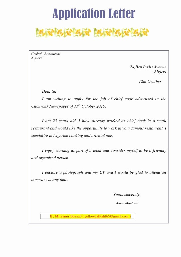 Sample Of A Job Application Inspirational Text Sample Application Letter