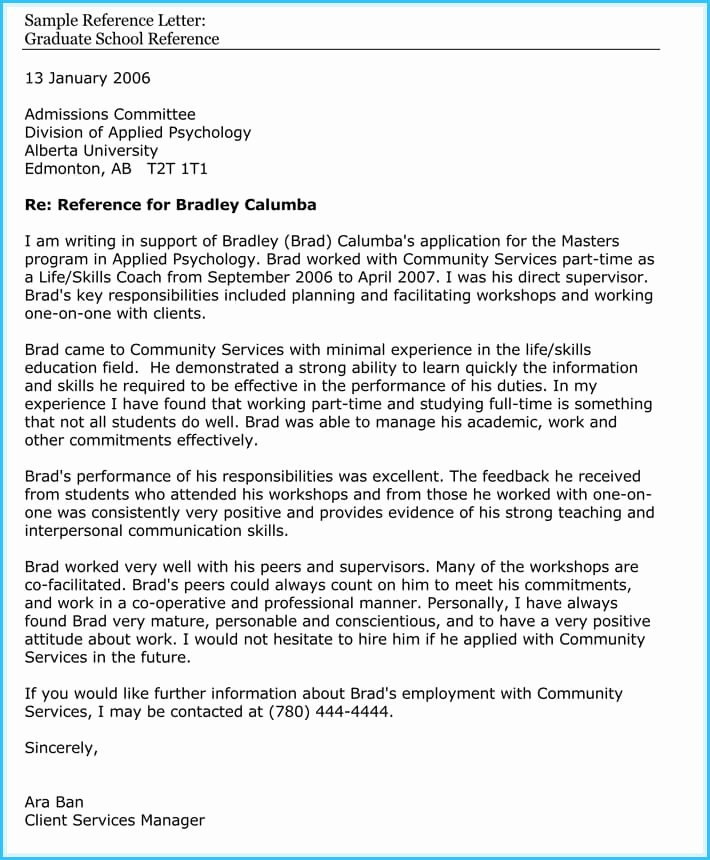 Sample Of A Referee Letter Lovely Academic School Reference Letter Samples and Examples