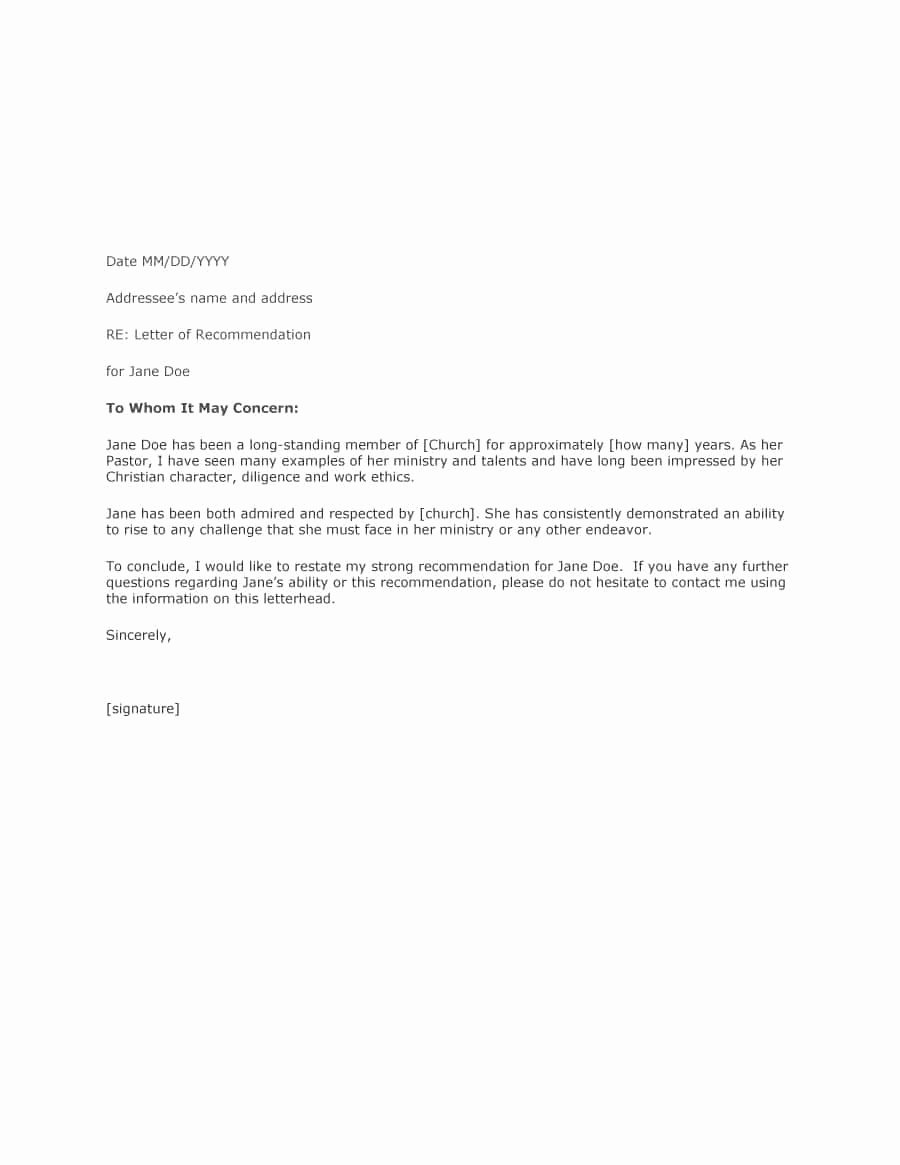 Sample Of A Referee Letter New 43 Free Letter Of Re Mendation Templates & Samples