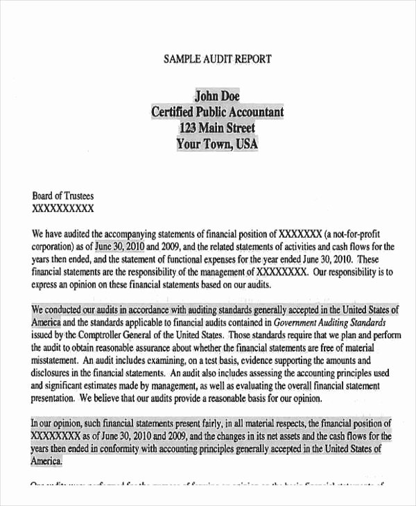 Sample Of Auditing Report New 11 Sample Audit Reports Free Pdf Word format Download