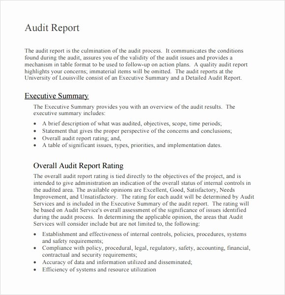 Sample Of Auditing Report New Sample Audit Report 6 Documents In Pdf
