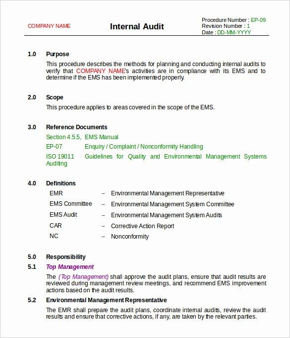 Sample Of Auditing Report Unique 37 Brilliant Audit Report format Examples Thogati