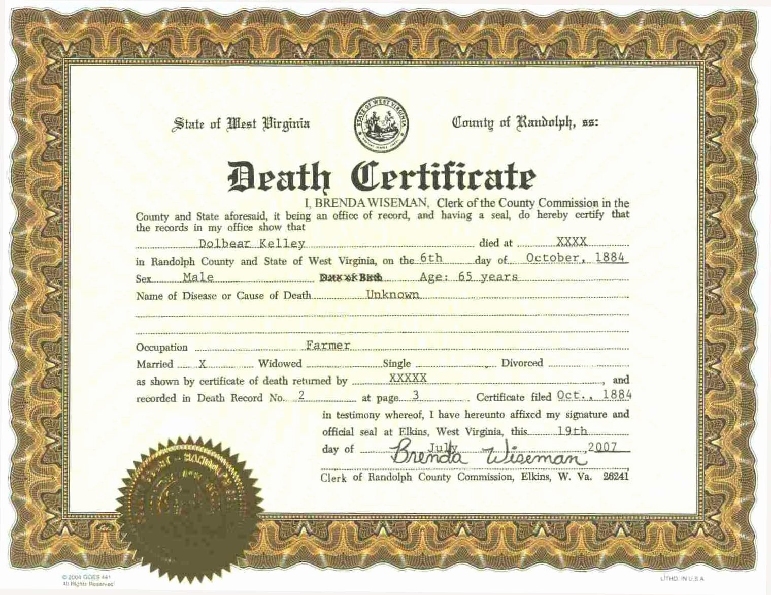 Sample Of Death Certificate Inspirational 5 Printable Certificate Death Templates with Samples