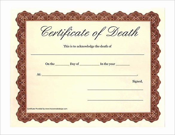 Sample Of Death Certificate Lovely 7 Death Certificate Templates – Free Word Pdf Documents
