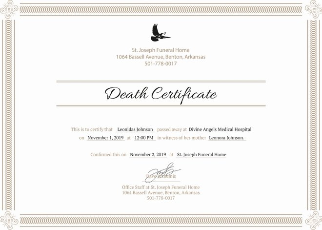 Sample Of Death Certificate Lovely 8 Death Certificate Templates Psd Ai Illustrator Word