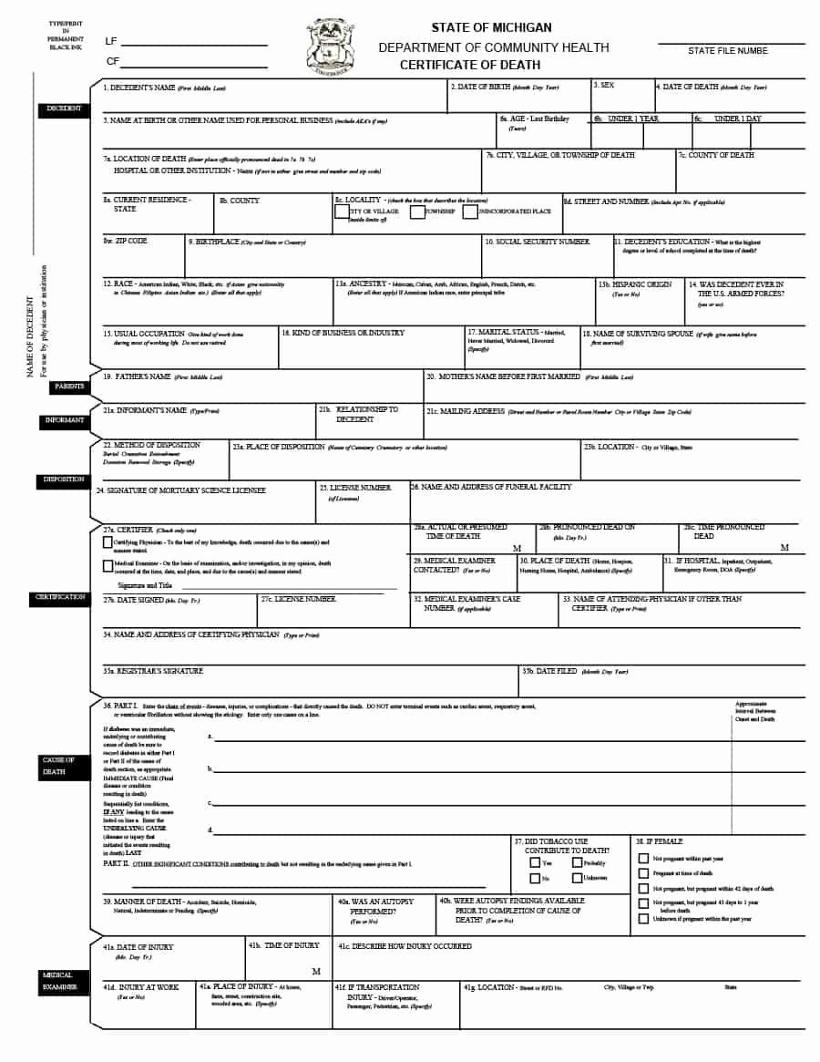Sample Of Death Certificate New 37 Blank Death Certificate Templates [ Free]