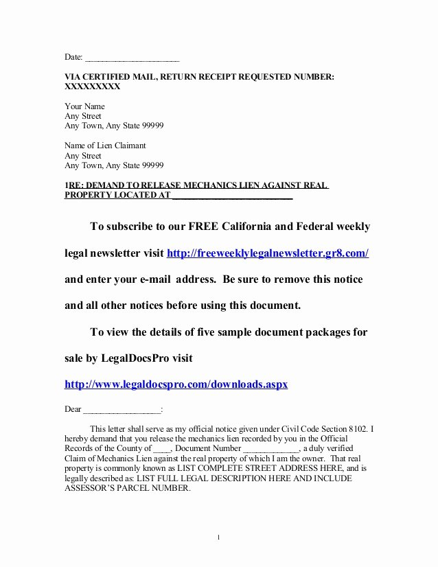 Sample Of Demand Letter Lovely Sample California Mechanics Lien Release Demand Letter
