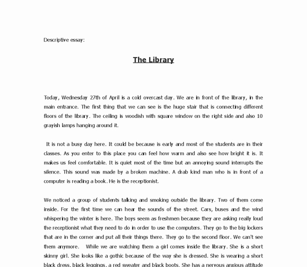 Sample Of Descriptive Essay Luxury Descriptive Essay the Library Gcse English Marked by