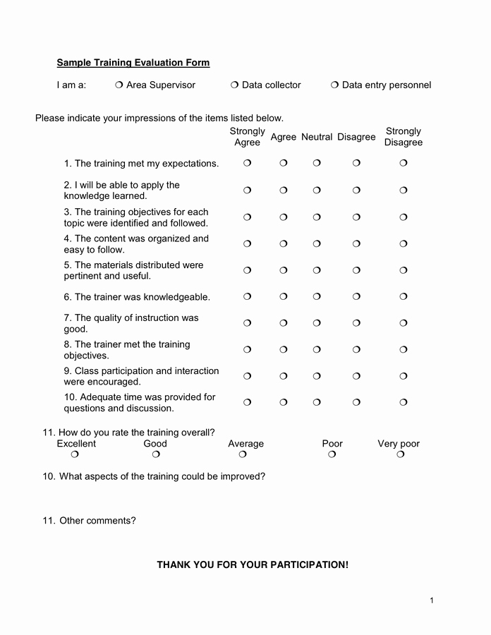 Sample Of Evaluation forms Awesome Training Evaluation form In Word and Pdf formats
