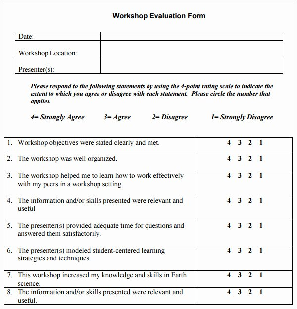 Sample Of Evaluation forms Beautiful Free 10 Sample Workshop Evaluation forms In Pdf