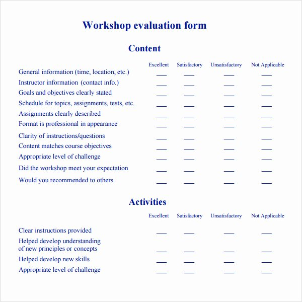 Sample Of Evaluation forms Inspirational Free 10 Sample Workshop Evaluation forms In Pdf