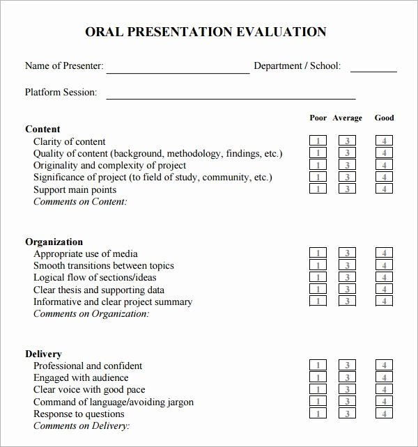 Sample Of Evaluation forms Inspirational Free 6 Sample Presentation Evaluations In Pdf