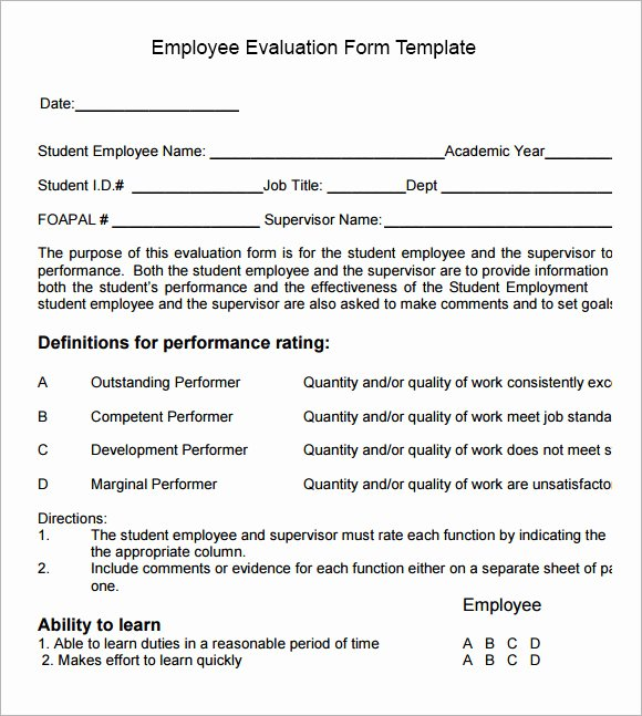 Sample Of Evaluation forms New Employee Evaluation form Sample – 13 Free Examples format