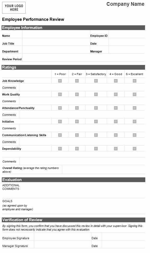 Sample Of Evaluation forms New Employee Evaluation Template