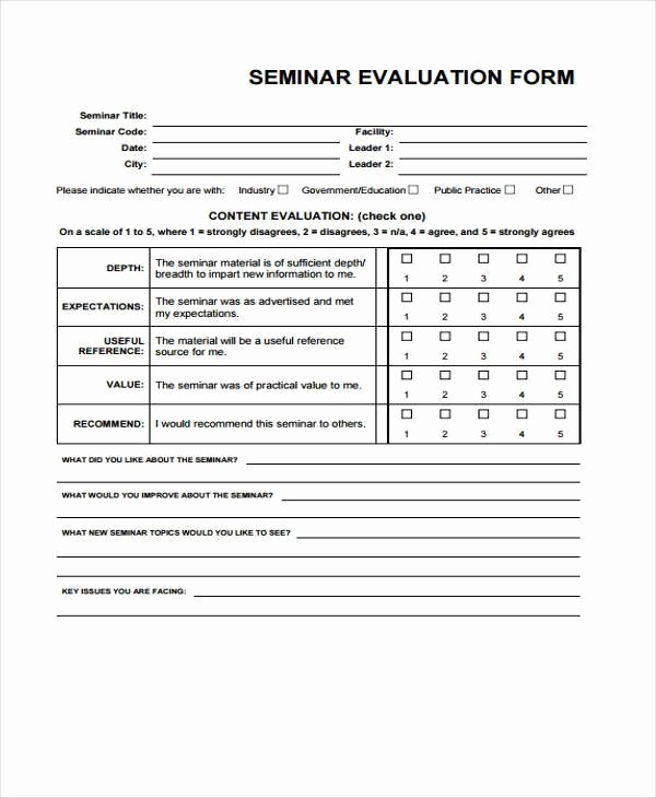 Sample Of Evaluation forms Unique Free 7 Seminar Evaluation form Samples In Sample Example