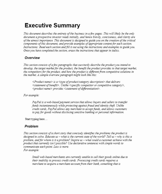 Sample Of Excutive Summary Inspirational Executive Summary Sample