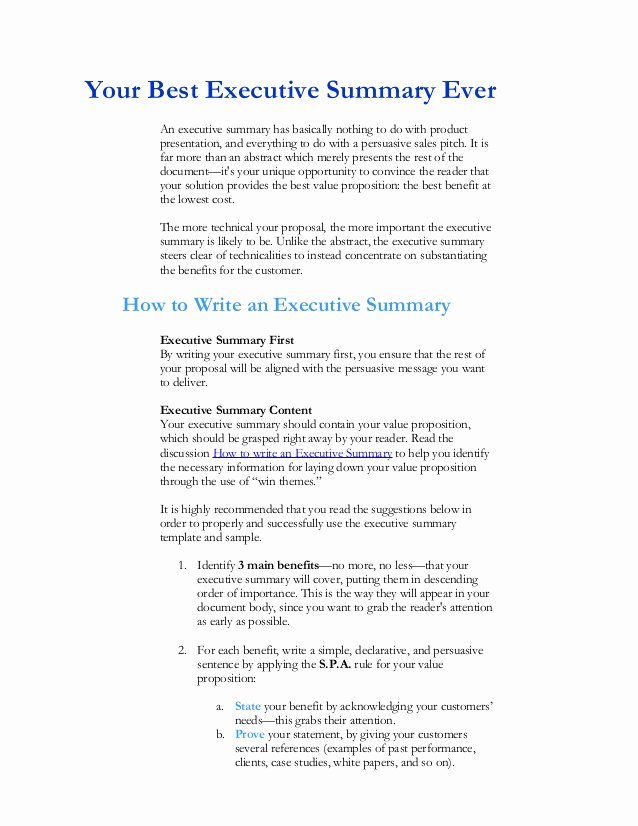 Sample Of Executive Summaries Inspirational Executive Summary