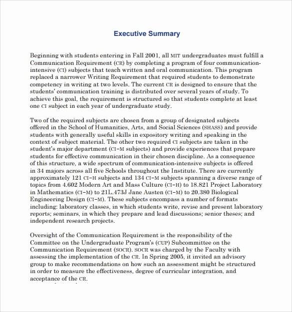 Sample Of Executive Summaries Lovely Sample Executive Summary Template 7 Free Documents In