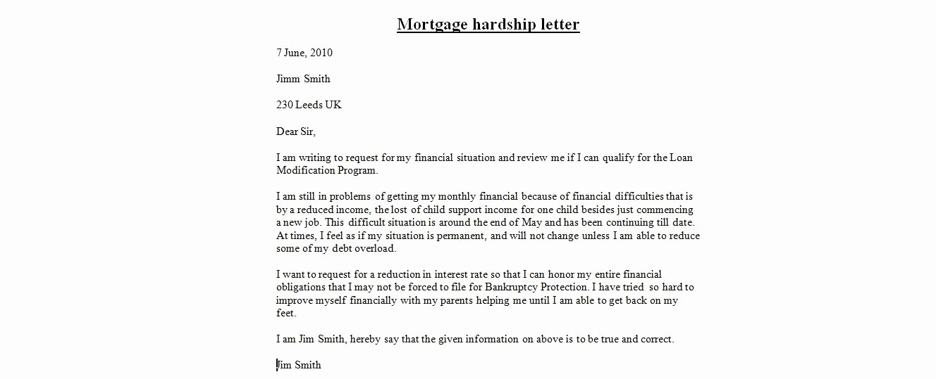 Sample Of Harship Letter Awesome Hardship Letters for Mortgage Modification