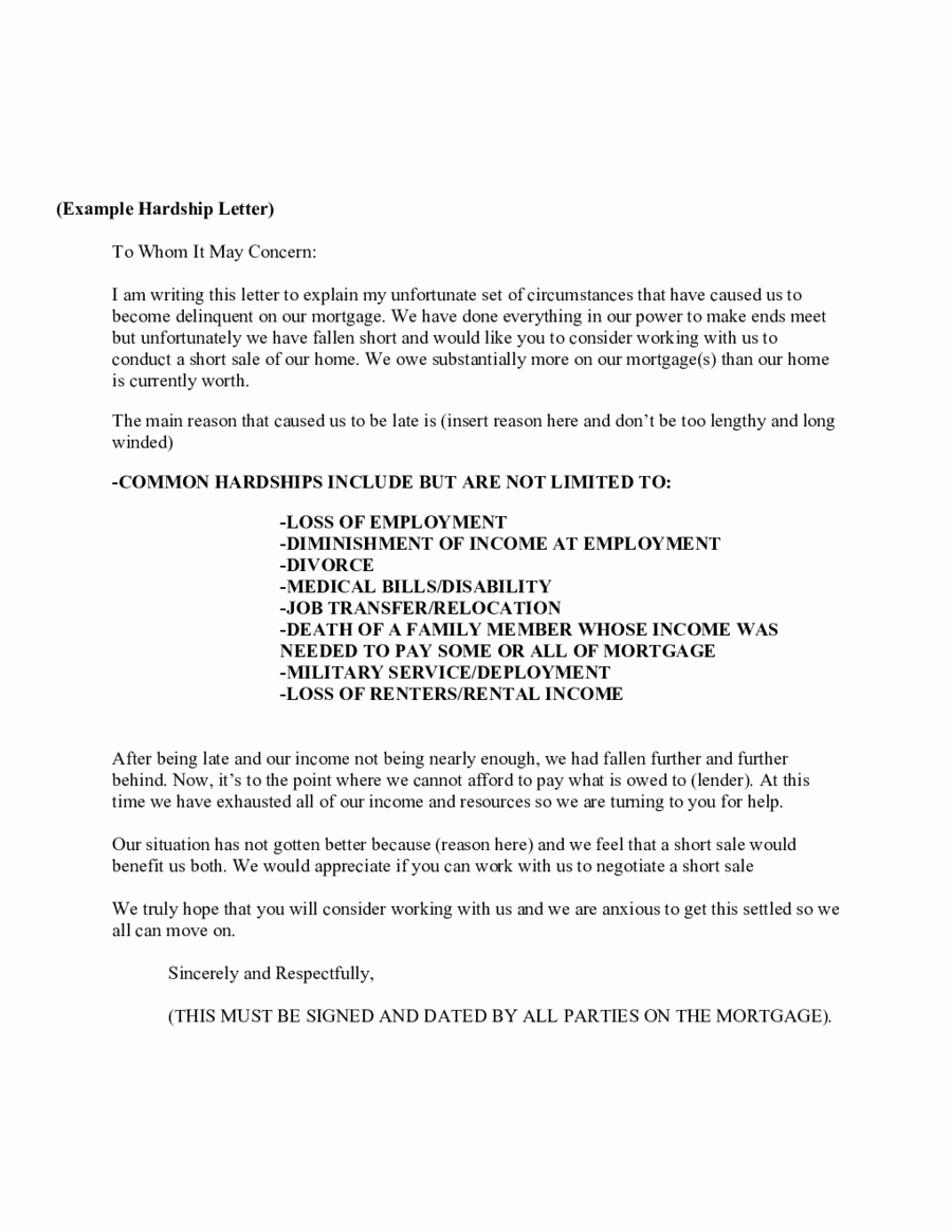 Sample Of Harship Letter Inspirational 2019 Hardship Letter Fillable Printable Pdf & forms