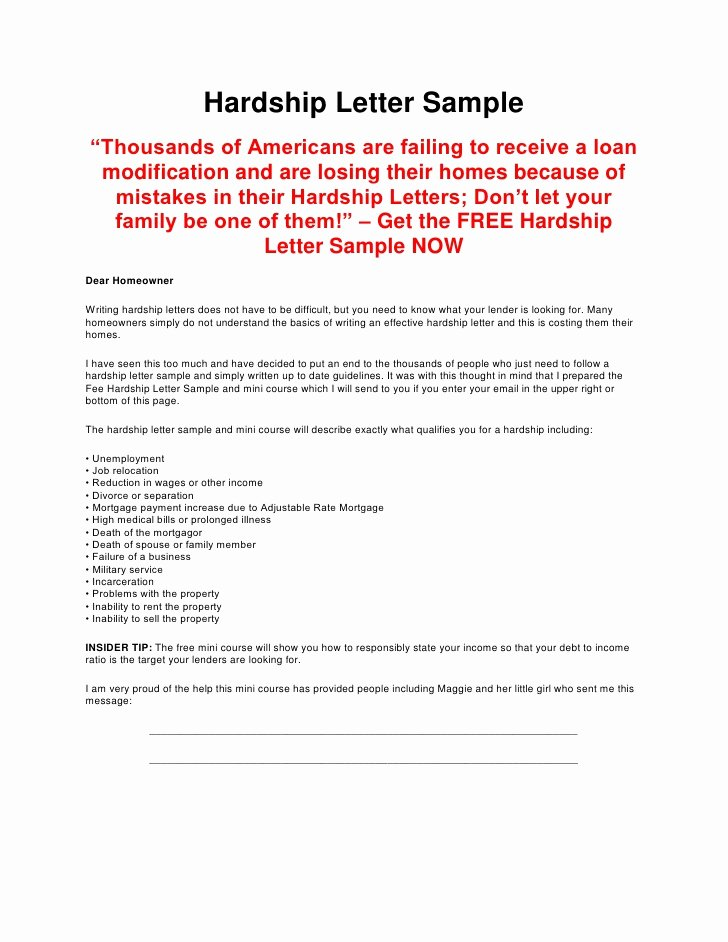 Sample Of Harship Letter Inspirational Hardship Letter Sample