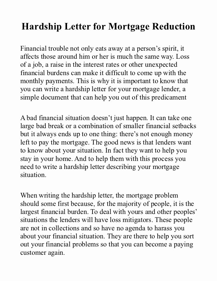 Sample Of Harship Letter Unique Hardship Letter for Mortgage Reduction