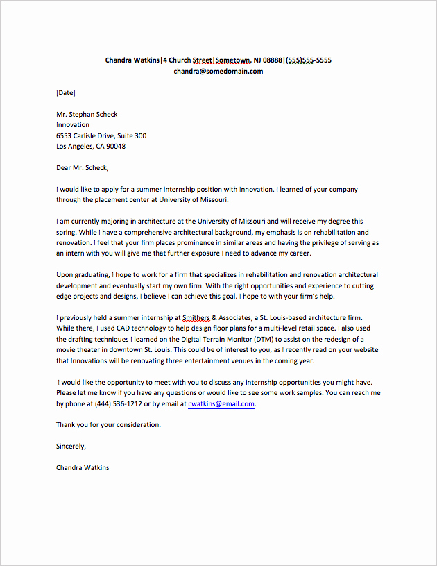 Sample Of Internship Cover Letter Awesome Cover Letter for Internship Sample