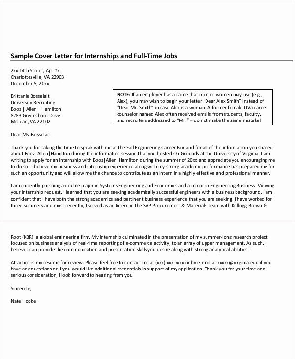 Sample Of Internship Cover Letter Best Of 10 Job Application Letter for Internship Free Sample