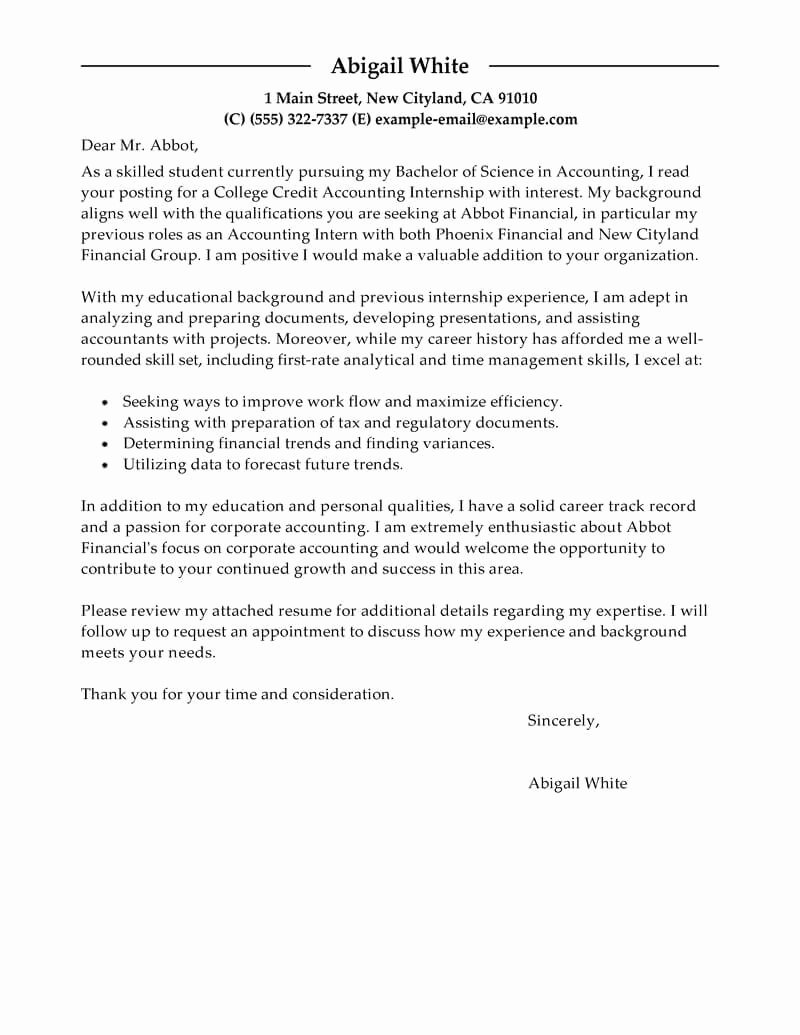 Sample Of Internship Cover Letter Lovely Best Training Internship College Credits Cover Letter