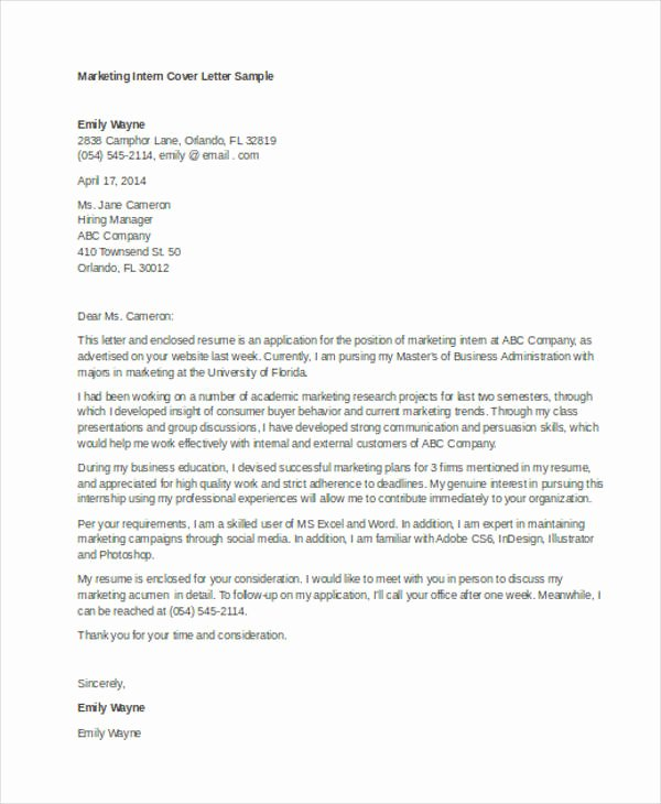 Sample Of Internship Cover Letter New 9 Internship Cover Letter Free Sample Example format