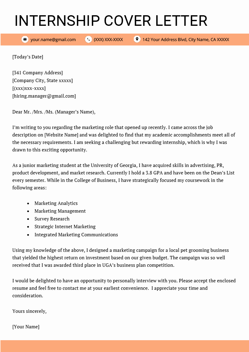 Sample Of Internship Cover Letter Unique Cover Letter for Internship Example [ 4 Key Writing Tips
