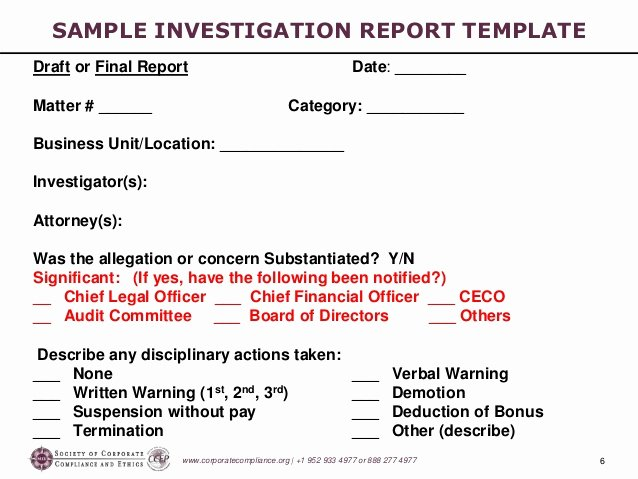 Sample Of Investigation Report Beautiful Investigations Workshop Part 5 Preparing the