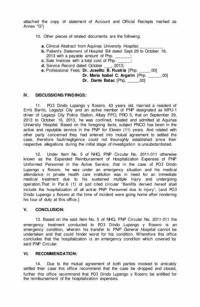 Sample Of Investigation Report Fresh Investigation Report