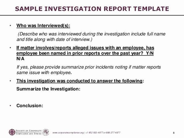 Sample Of Investigation Report Inspirational Investigations Workshop Part 5 Preparing the