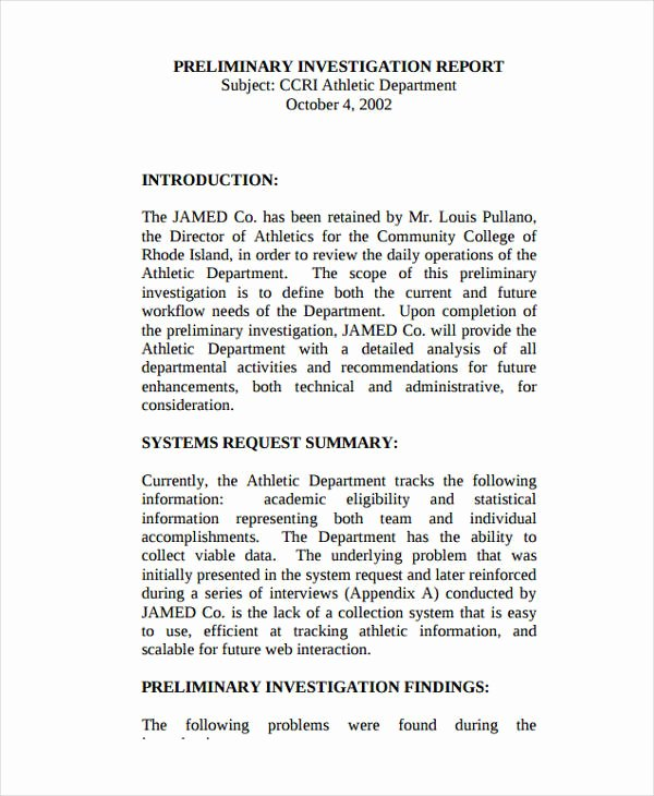 Sample Of Investigation Report Lovely Free 15 Investigation Report Samples & Examples In Pdf