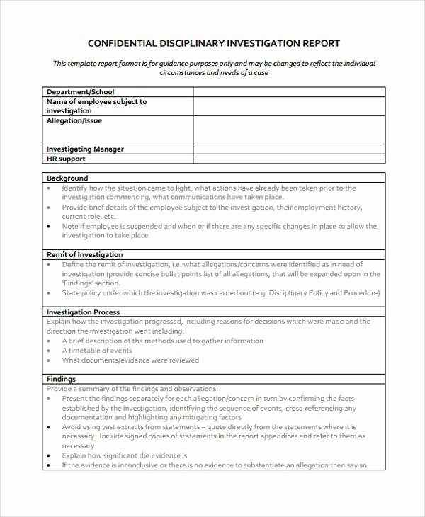 Sample Of Investigation Report New 18 Investigation Report Templates Free Pdf Goggle Docs