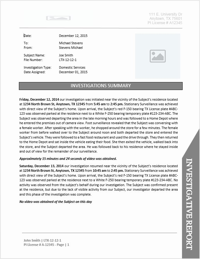 Sample Of Investigation Report New Private Investigator Report Template Document Downloads
