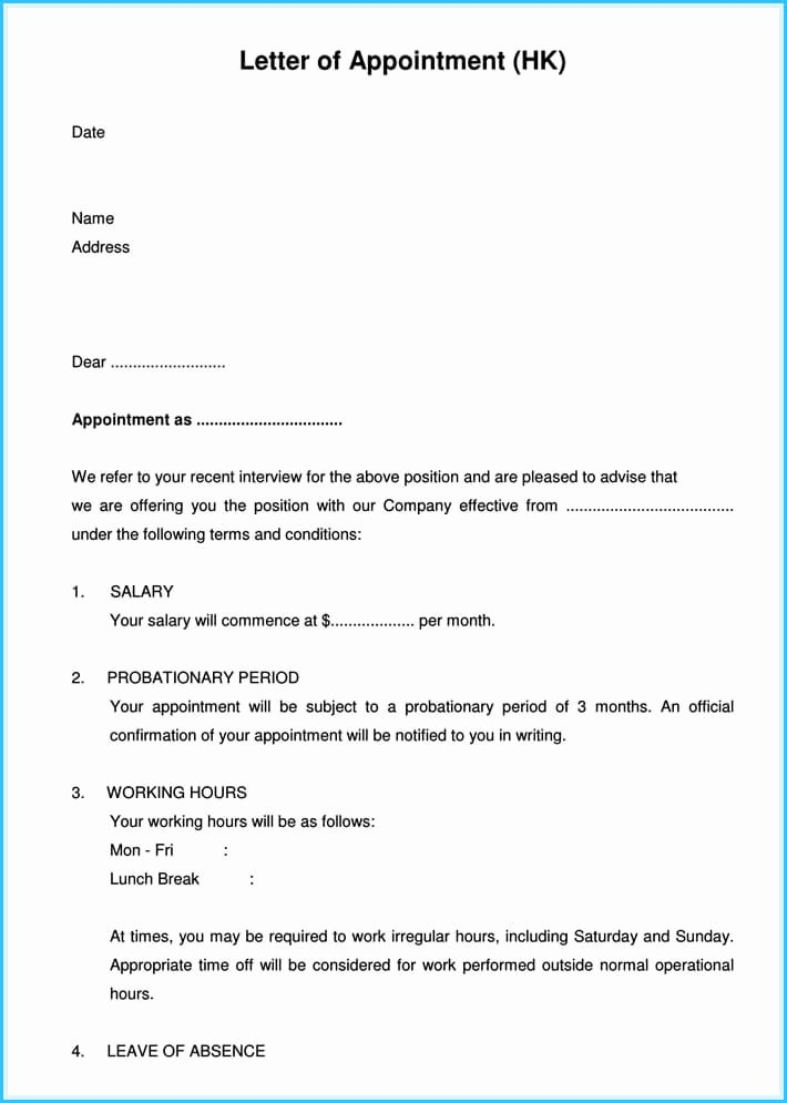 Sample Of Job Letter Best Of Job Appointment Letter 12 Sample Letters and Templates