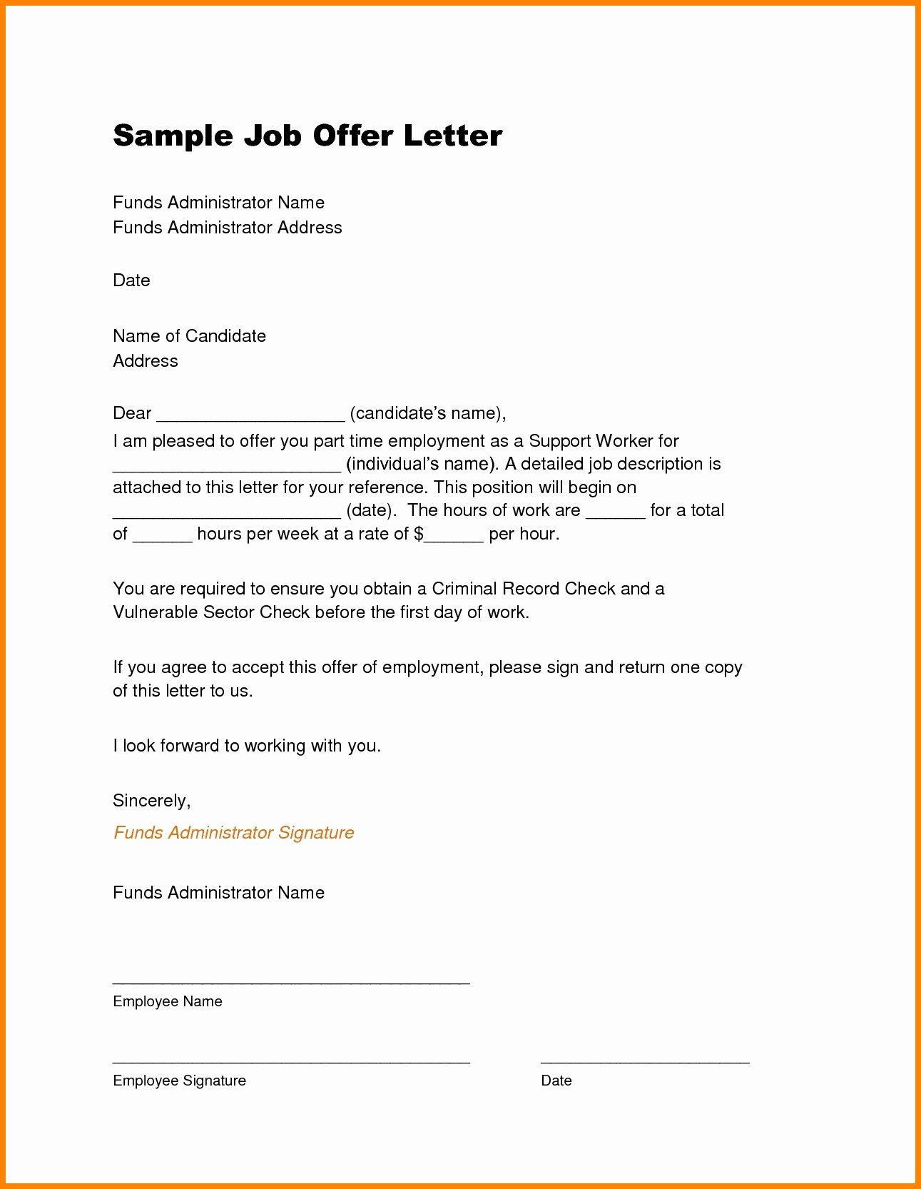 Sample Of Job Letter Lovely Job Fer Letter Template Pdf Examples