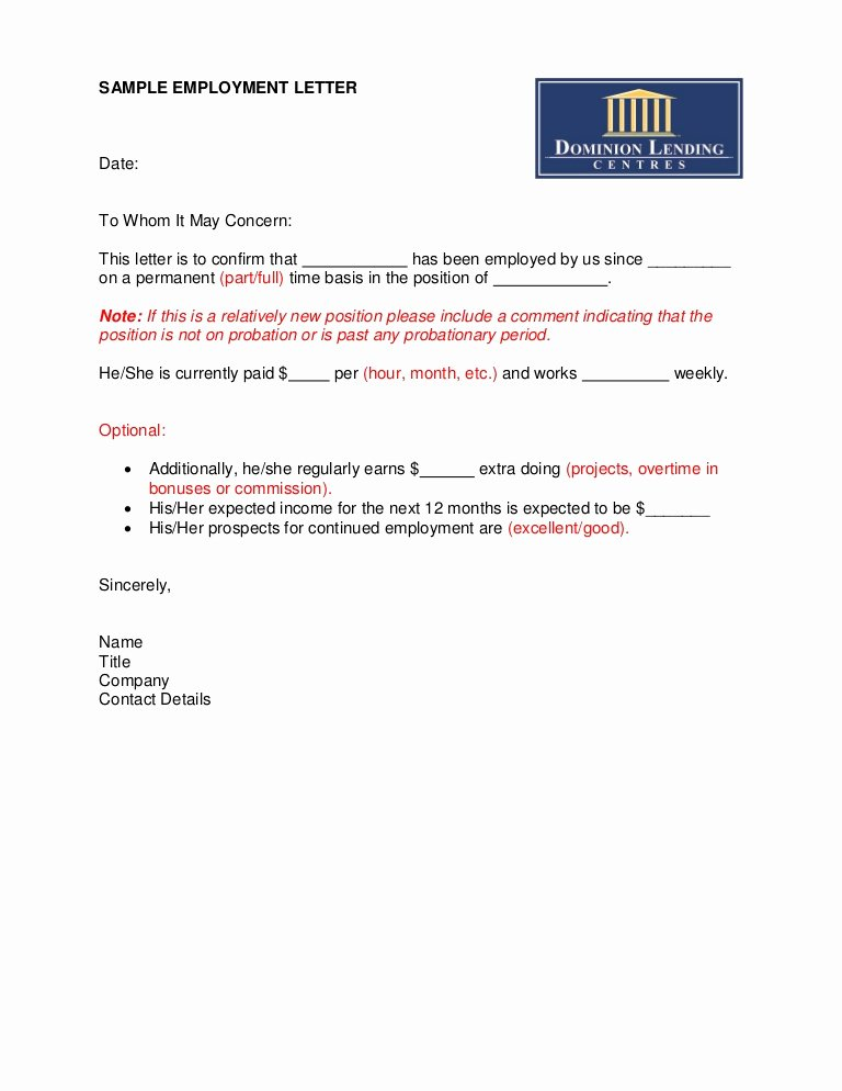 Sample Of Job Letter Unique Sample Employment Letter