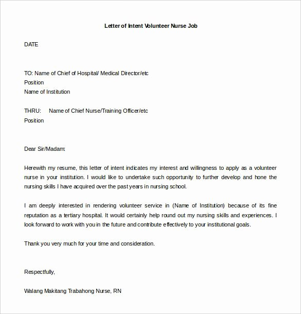 Sample Of Letter Of Intention Luxury Letter Intent for Job Template
