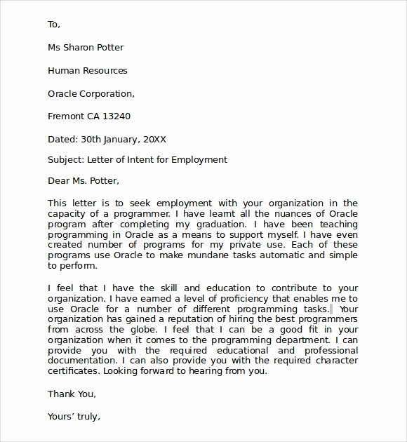 Sample Of Letter Of Intention New 10 Letter Of Intent for Employment Samples Pdf Doc