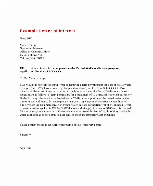 Sample Of Letter Of Interest New Letter Of Interest 12 Free Sample Example format