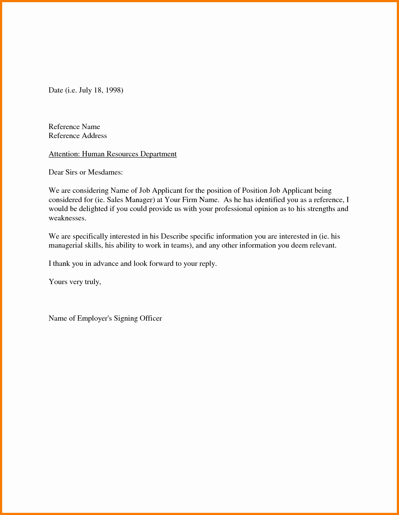 Sample Of Letter Of Reference Best Of Sample Re Mendation Letter From Employer Appeal Letters