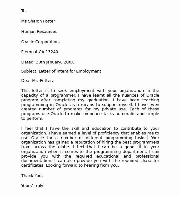 Sample Of Letters Of Intent Elegant 10 Letter Of Intent for Employment Samples Pdf Doc