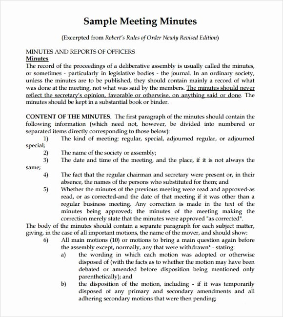 Sample Of Minutes Of Meeting Best Of 7 Free Meeting Minutes Templates Excel Pdf formats