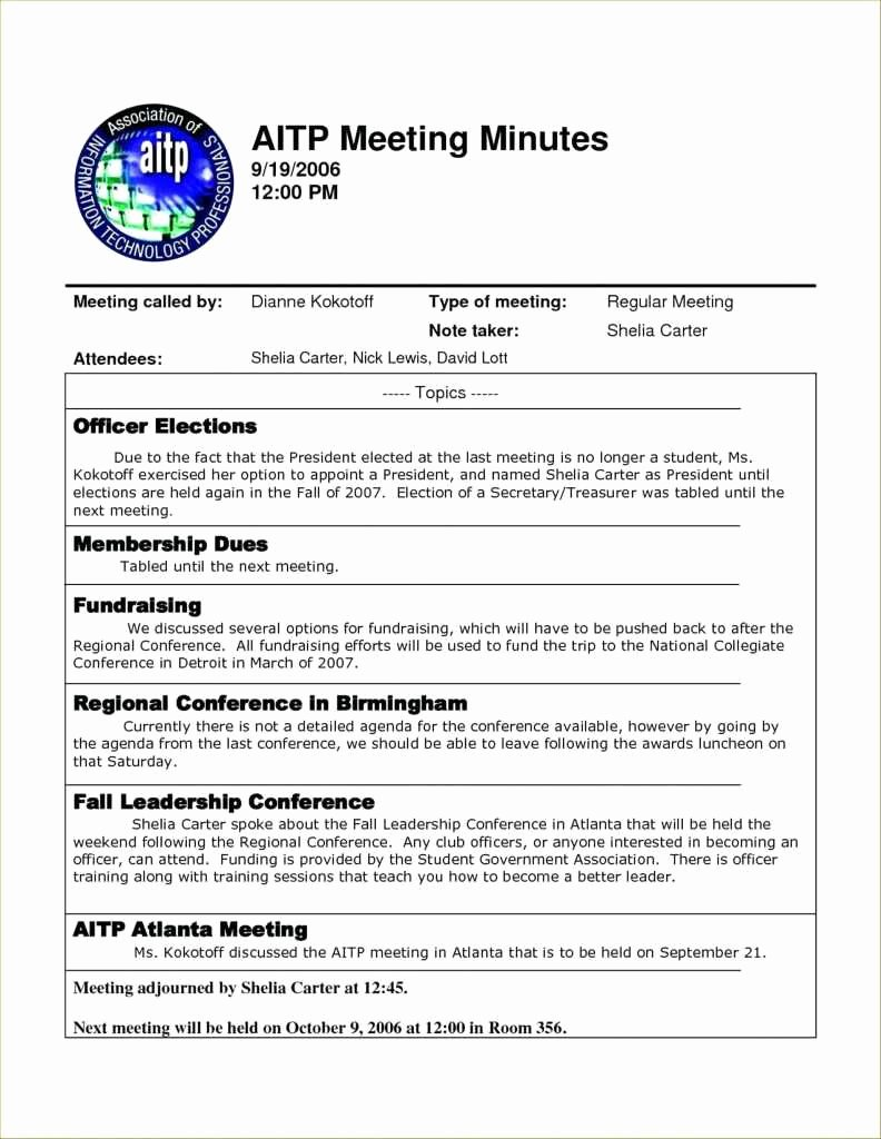 Sample Of Minutes Of Meeting Best Of 9 10 Minutes Of Meeting format Doc